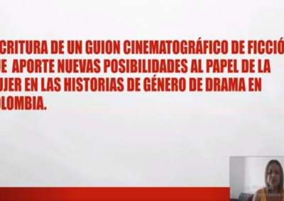 Yulenis E. Caballero M.  Escritura de un guion cinematográfico para largometraje de ficción que aporte nuevas posibilidades al papel de la mujer en las historias de género de drama en Colombia.