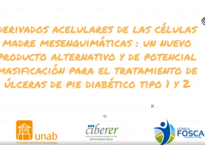 Claudia L. Sossa M.  Derivados acelulares de las células madre mesenquimáticas : Un nuevo producto alternativo y de potencial masificación para el tratamiento de úlceras de pie diabético tipo 1 y 2.
