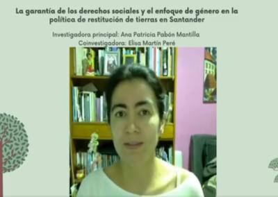 Ana P. Pabón M.  La garantía de los derechos sociales y el enfoque de género en la política de restitución de tierras en Santander.