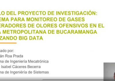 Sebastián Roa P.  Sistema para monitoreo de gases generadores de olores ofensivos en el área metropolitana de Bucaramanga utilizando big data.