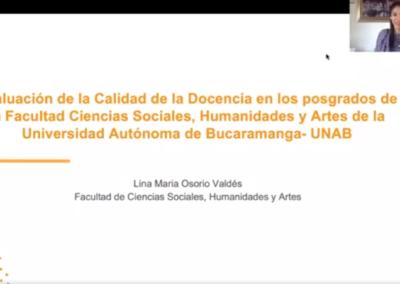 Lina M. Osorio V.  Propuesta de rediseño del modelo de evaluación de la calidad de la docencia UNAB para los posgrados de la Facultad Ciencias Sociales, Humanidades y Artes de la Universidad Autónoma de Bucaramanga- UNAB.