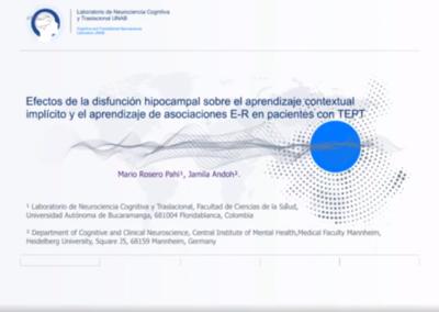 Mario A. Rosero P.  Efectos de la disfunción hipocampal sobre el aprendizaje contextual implícito y el aprendizaje de asociaciones estímulo-respuesta en pacientes colombianos y alemanes con trastorno por estrés postraumático.