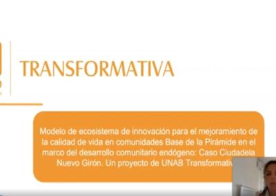 Andrea C. Martínez L.  Modelo de ecosistema de innovación para el mejoramiento de la calidad de vida en comunidades base de la pirámide en el marco del desarrollo comunitario endógeno: caso Ciudadela Nuevo Girón. Un proyecto de UNAB transformativa.