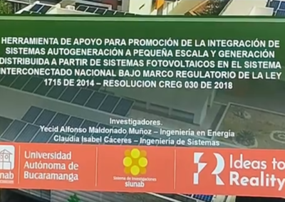 Yecíd A. Muñoz M.  Herramienta de apoyo para promoción de la integración de sistemas autogeneración a pequeña escala y generación distribuida a partir de sistemas fotovoltáicos en el sistema interconectado nacional bajo marco regulatorio de la resolución 030 de 2018.